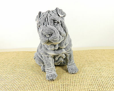 Pressed marble stone crumb Shar Pei dog figurine from Russia