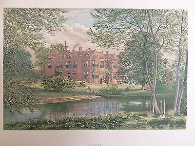 c.1880 Antique Print of Franks, Farningham ,Kent