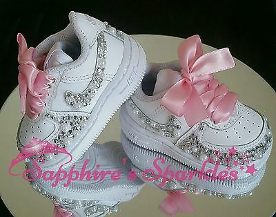 Crystal Pearl Infants Baby Girls White Nike Air Force 1 Sizes 1.5 - 9.5