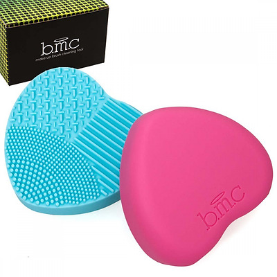 BMC 2pc Heart Shaped Silicone Multi Texture Surface Make Up Brush Cleaning Tool