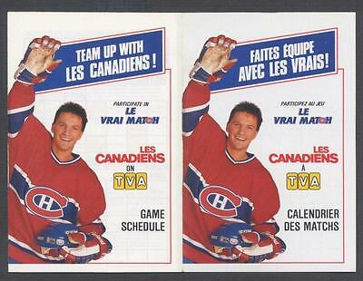1988-89 Montreal Canadiens NHL Hockey Pocket Schedule TVA CARBONNEAU