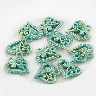 10pcs Love Heart Bronze Green Charms Bead Pendant DIY Jewelry Making 14*14mm