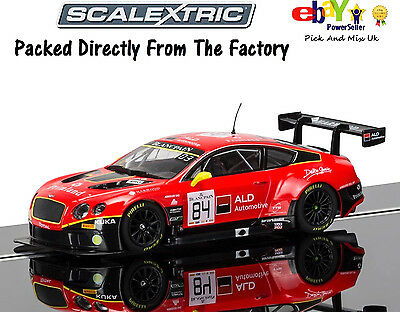 NEW IN  Scalextric Slot Car Bentley Continental GT3, Team HTP Red  C3845