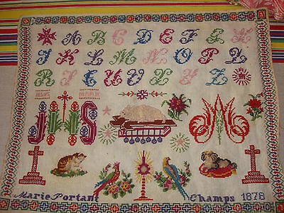 ANTIQUE FRENCH RELIGIOUS SAMPLER EMBROIDERY  -Marie Portant Champs 1878