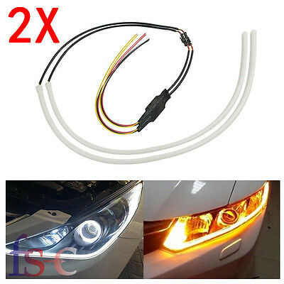 2X 45cm Car Sequential LED Strip Light Turn Signal Switchback DRL Dynamic Lamp