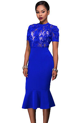 New Classy Ladies Royal Blue Sheer Lace Top Bodycon Midi Dress Size 8 10 12 14