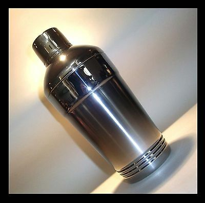 Vintage COCKTAIL SHAKER brushed Chrome  art deco breweriana 30s 40s 50s retro