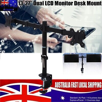 13-27'' Dual LED Desk Mount Monitor Stand Bracket 2 Arm Holds Two LCD TV Screen