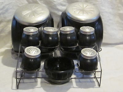 Sneath Sellers Triple Skip Cannisters & Shaker Set with Stands