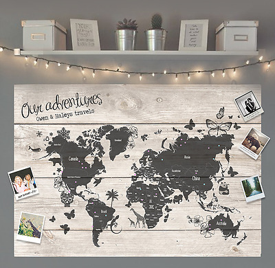 Personalised Gift Travel World Map Pinboard