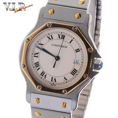 Cartier Santos Gm Montre Uhr Herrenuhr Damenuhr Stahl/gold Unisex Watch Orologio