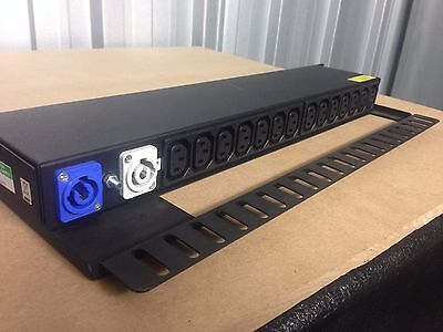 "1U Rackmount 19"" Power Distro Powercon IEC Fused"