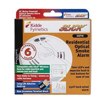 KIDDE Slick Mains-powered optical smoke alarm with wireless capability-2SFW