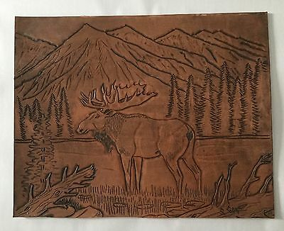 Vtg Leathercraft Tooled Embossed Leather Art Picture Moose - Signed S. Gray