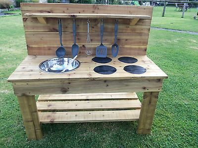 Standard 95cm 1 Bowl and hobs Mud Kitchen with Utensils - Treated