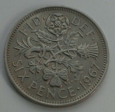 Great Britain,UK 6 Pence 1967. Sixpence. 6 Cents coin.ELIZABETH II. Half shillig