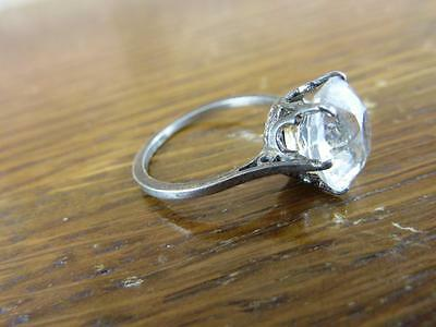 Silver ring with big faux diamond  UK SIZE N