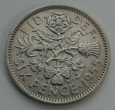 Great Britain,UK 6 Pence 1955. Sixpence. 6 Cents coin.ELIZABETH II. Half shillig