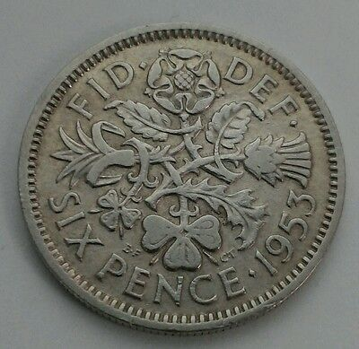 Great Britain,UK 6 Pence 1953. Sixpence. 6 Cents coin.ELIZABETH II. Half shillig