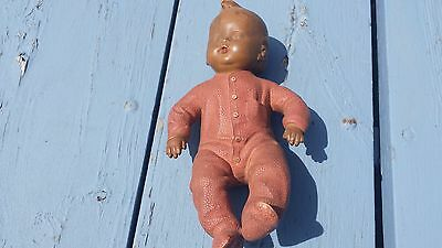 Vintage Antique Rubber Toy Doll Squeaky Baby Boy Sleeping