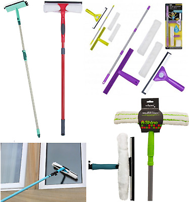 Window Cleaning Washing Set Extension Pole Telescopic Squeegee & Brush Head Kit