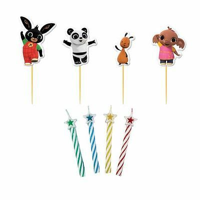 8pk Bing Bunny Character Picks With Candles Birthday Party Cake Decorations