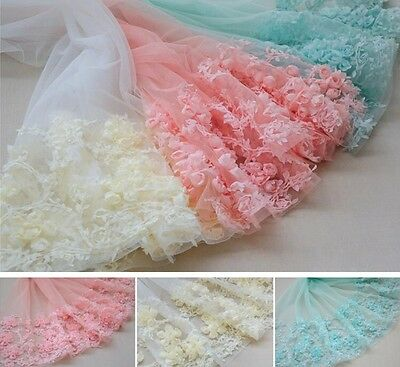 3D Rose Flower Lace Tulle Fabric Embroidered Wedding Costume Dress Crafts 25''