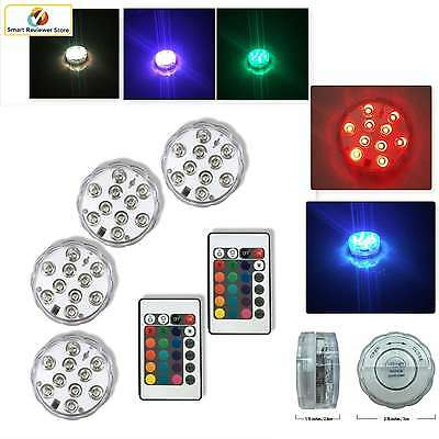 4PCS RGB LED Light IR Remote Control Multicolor Underwater Swimming Pool Light