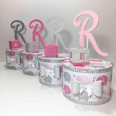 Pink & Gray Elephant Baby Shower Paper Cake Centerpieces