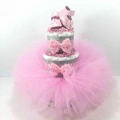 Pink and Gray Tutu and Shoes Diaper Cake Centerpiece