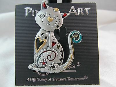 NWT Vintage PEWTER & ENAMEL MODERNIST CAT KITTEN PIN BROOCH, Detailed, Adorable