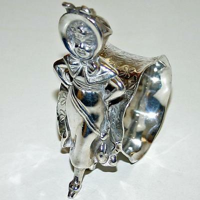 Antique Figural Napkin Ring - Girl with Arms Akimbo by Barbour Silver Co.