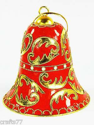 Red Cloisonne Copper Enamel Bell,Golden Floral Pattern,Home Christmas Ornament