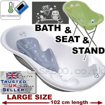 SET LARGE Lux 102cm length Baby Bath Tub with STAND+seat &THERMOMETHER-WHITE&gre