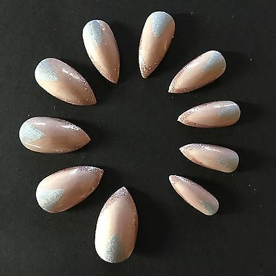 Hand Painted Stiletto Shaped Nude Silver Rose Gold Glitter False Fake Nails 20