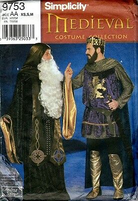 Simplicity Medieval Costume Sewing Pattern, Mens XS, S, M, Uncut