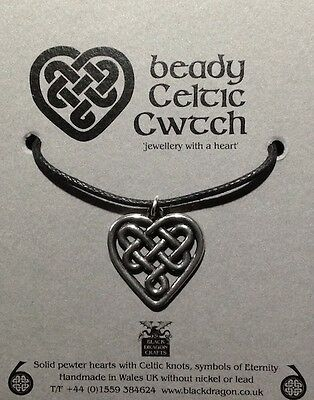 Welsh Pewter  hearts with Celtic Knots with 16 in cotton cord and fastener