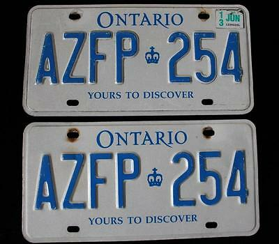 Pair Of Ontario Canada Yours To Discover License Plates  June 2013