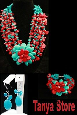 Natural Red Coral Blue Turquoise Flower  Necklace Bracelet Earrings Jewelry Set