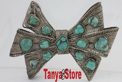 Antique Vintage Cannetille Filigree Bow Brooch Pin Silver Natural Turquoise