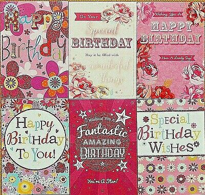 Pack Of 6 Female Birthday Greetings Cards Floral Ladies Open
