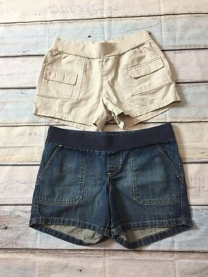 Lot of 2 Maternity Shorts Size M Medium Old Navy and Motherhood Khaki Jeans C36