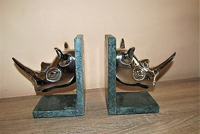 Super bookends silver plate and marble effect. Rhino Head.