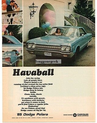 1965 DODGE Polara Blue 2-door Coupe Vtg Print Ad
