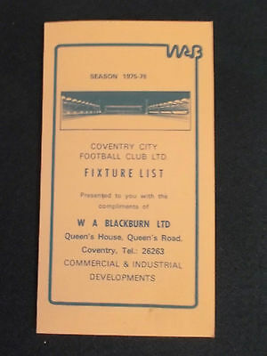 Coventry City FC Fixture Card 1975/76