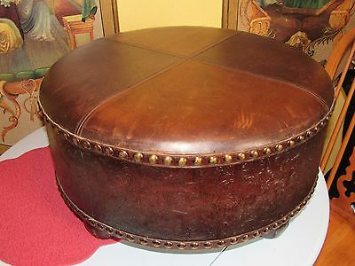 Vintage Leather Ottoman Round with Nail Head Accents and Wood Legs