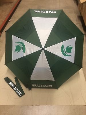 "Michigan State Spartans 62"" Double Canopy NCAA  logo Windproof Umbrella, NEW"