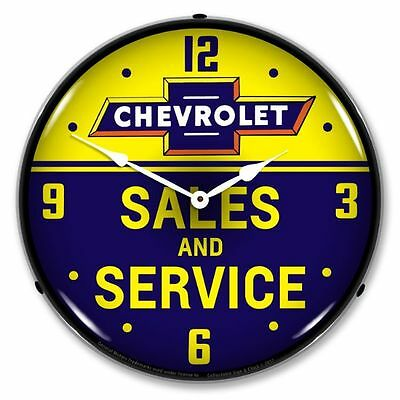 Nostalgic Chevrolet Bowtie Sales and Service Chevy Garage Lighted Backlit Clock