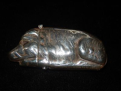 OLD STERLING SILVER HALLMARKED PIG Boar VESTA CASE MATCH HOLDER STRIKER 43 Grams