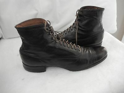 Antique Goodyear Wing Victorian Boots Black Leather High Top Lace-Up  Steampunk